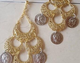 Black Magic Woman  Gypsy Hoop Coin Earrings