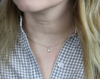 Slanted heart charm choker necklace | Gold or Silver Double dapped cable choker necklace | Fashion choker necklace