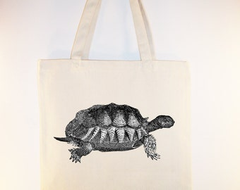 Vintage Turtle illustration on Canvas Tote with shoulder strap - Selection of sizes available