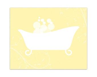 Bathroom Wall Art, Yellow Bathroom Decor, INSTANT DOWNLOAD, Bathtub Art, Home Decor, Home Wall Decor - BATH77