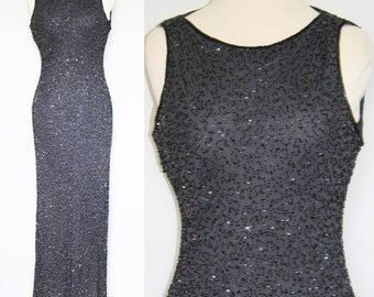1990s Gray Beaded Evening Gown by Stenay, Small to Medium   90s Vintage Thirties Style Beaded Dress (S, M, 34-26-40)