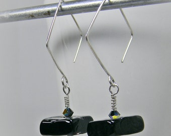 Long Geometric Ear Wires and Black Lampwork Glass Earrings in Sterling Silver; Black Thread Through Earrings; Under 20 Dollars