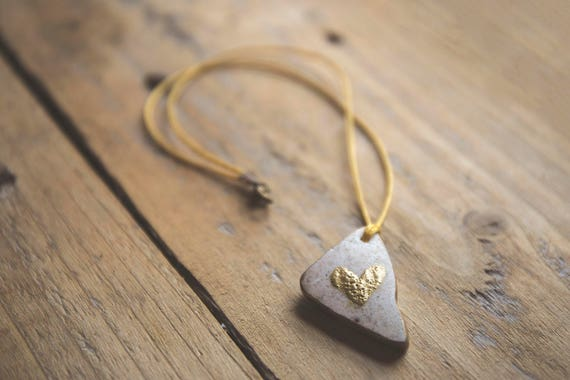 """River Tile Enamelled Heart Pendant - """"Take My Heart"""" - Gilded Edges, on waxed cotton cord. Reuse, Upcycle, Relove."""
