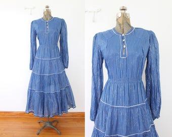 1970s Indian Cotton Dress / India Cotton Sapphire Blue and Silver Metallic Boho 70s Dress