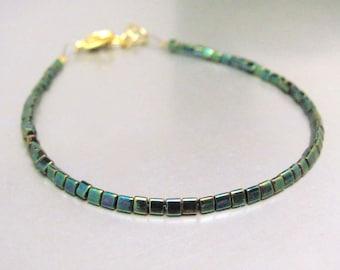 Beaded Bracelet, Green Dainty Beaded Bracelet, Friendship Bracelet, Teen Tween Woman Gift, Delicate Tiny Minimal Jewelry Miss Ceces Jewels