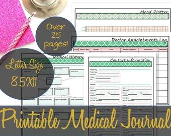 Medical and Health Printable Inserts, Doctor Log, Medication Tracking, Health Planner, Medical Planner, Big Happy Planner - INSTANT DOWNLOAD
