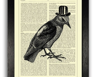 WALL ART, Crow in Top Hat Print, Home Office Wall Decor, Gothic Painting, Goth Artwork, Gift for Best Friend, Halloween Decoration, Bird Art