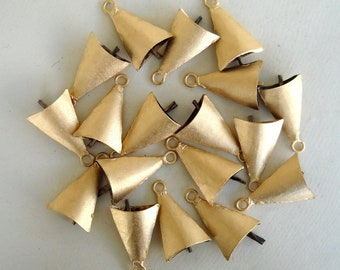 100 Golden Hand Made Cow Camel Goat Sheep Bells for Wind Chimes, Altered Art -with Jute Rope - DIY - MV165