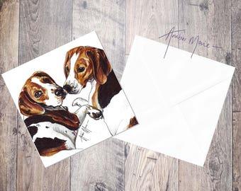 Beagle Kisses Greeting Card / Blank Inside