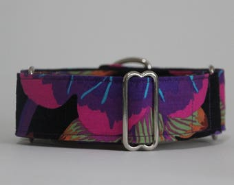"Greyhound Midnight Blooms 1.5"" Martingale Collar **New Sizing**"