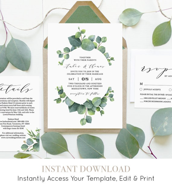 Wedding Invitation Set, INSTANT DOWNLOAD, Greenery, Eucalyptus, Boho Wedding, 100% Editable, Printable Invite, RSVP, Detail, Templett #036C