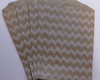"Set of 10 Soft White Chevron Design on Kraft Middy Bitty Bags (5"" x 7.5"")"