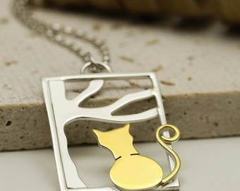 Sterling Silver 24K Gold Plated Cat Necklace - Cat Jewellery - Cat Lover Gift