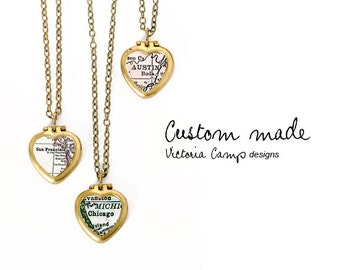 Custom Map Necklace on Tiny Vintage Heart Locket, Personalized Map Jewelry, Choose Your City, Brass Locket, Paper Anniversary, Vintage Map
