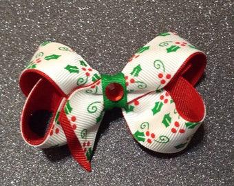 Christmas Hairbow Red Berries Green Leaves White Bow Hair Barrette Clip Crochet Headband Kufi Hat