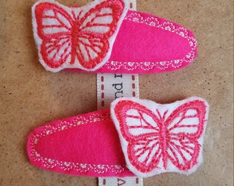 Hair Clips with Bright Pink Butterflies