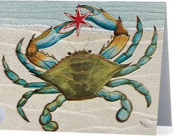 Blue Crab Christmas Card