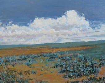Plains Painting, Original artwork, Clouds, Prairie, Foust,