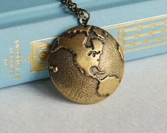 Gold Globe Locket Necklace, western hemisphere necklace, earth pendant, antique gold locket, travel necklace, map jewelry, man locket