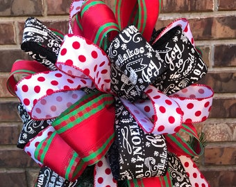 Christmas Tree Bow Topper - Red, Green, White Polka Dot, and Black Chalkboard Ribbon
