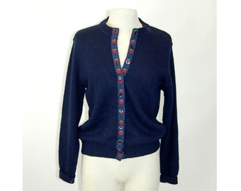 Wool cardigan with strawberry trim Shetland wool novelty sweater navy blue Size M