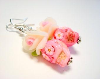 Bubblegum Pink Day of the Dead Rose Sugar Skull Earrings Large