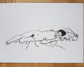 Nude woman drawing, female nude lying on bed charcoal No.28