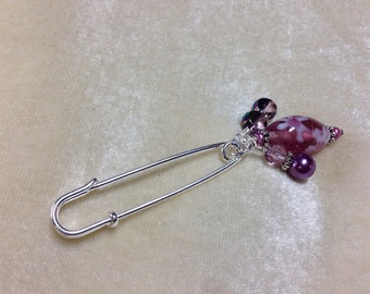 Beaded Wire Brooch- Purple Shawl Pin- Scarf Accessory- Purse Jewelry- Gift