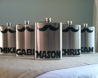 5 Personalized Groomsmen Mustache Stainless Steel 8 oz. Flasks