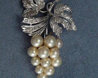 Alice Caviness Sterling Grape Brooch Vintage Pearl Grapes Pin