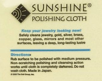 Sunshine Polish Cloth, Large Size, Bulk, Jewelry Care Protection,  Supplies, Findings