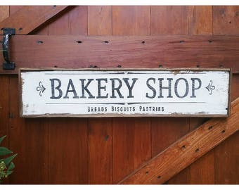 Vintage Style Hand Painted BAKERY Sign Reclaimed Wood Wall Decor
