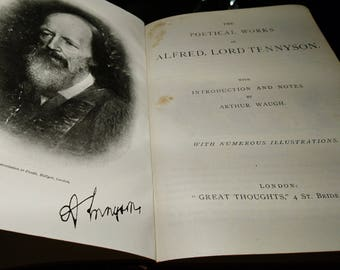 Poetical works of Tennyson, notes from Alfred Waugh, c1905, The Great Thoughts Edition, rare edition