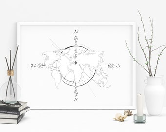 Graphic world map print + frame