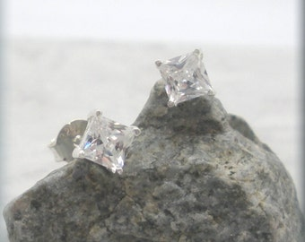Tiny Square CZ Earrings, Sterling Silver, Faux Diamond Earring, Studs, Posts, Cartilage Earring, April Birthstone, Dainty, Everyday