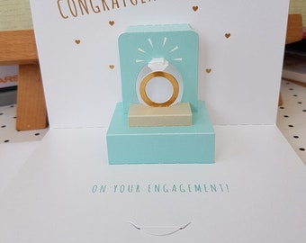 Engagement Ring Congratulations card in duck egg blue, Fab 3d card engineered sparkly whopper card, Happy Couple on your engagement card,