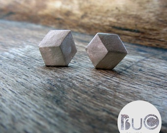 3d geometric silver cube earrings by Brucojewels