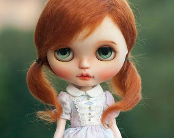 """10-11"""" Cute Carrot Red Mohair Short Curly Blythe Wig with Two Ponytails Doll Wig"""