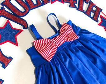 Captain America | Wonder Woman | Super Girl | Superhero | USA | Girls Dress | Halloween Costume | Red, White, and Blue | Patriotic | Baby