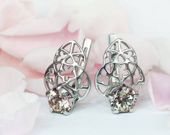 Oringo Rose Earrings Insipired by Medieval Cathedral Architecture Sterling Silver Swarovski Misty Rose Topaz