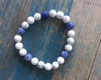 woman's sodalite healing crystal bracelet