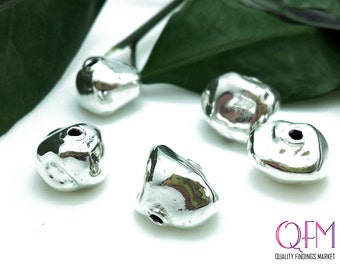 3pcs Hollow beads 15mm sterling silver 925 - beads electroforming  - Chip Spacer  Nugget hammered silver beads
