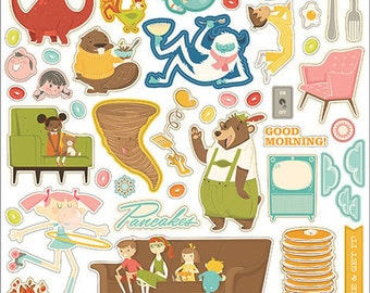 """October Afternoon Saturday Mornings Collection Shape Stickers, 12""""X12"""" Sticker Sheet, Vintage TV/Weekend Scrapbook Theme"""