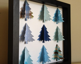 Blue Christmas Tree, 3D Paper art