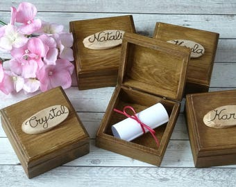 Will You Be My Bridesmaid Box Bridal Party Gift Rustic Wedding Decor Maid Of Honor Gift Bridesmaid Box Wooden Jewelry Keepsake Box Engraved