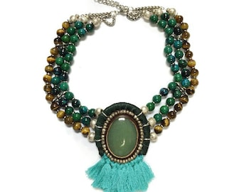 60% OFF Emerald Isle - olive agate focal stone choker necklace embedded in leather with strands of chrysocolla and tiger's eye