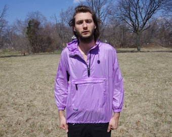 90's OBERMEYER LILAC quater zip windbreaker jacket size medium