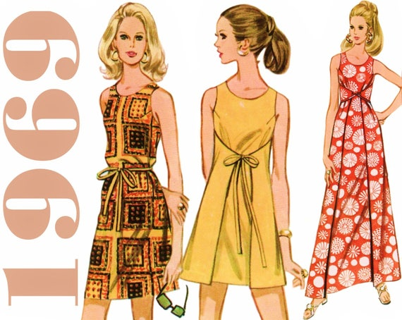 Vintage Wrap Dress 1960s Mini Dress Pattern McCALLS 9791 bust 31.5 ...