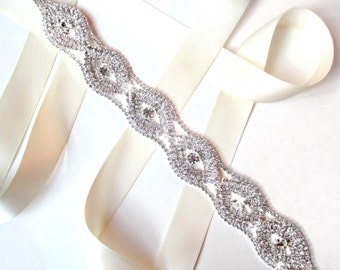 Sash - Extra Long Infinite Rhinestones Bridal Belt Sash - White Ivory Silver Satin Ribbon - Crystal Wedding Dress Belt - Long