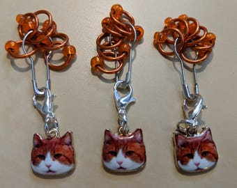 Cat Stitch Markers - Orange (Fit up to size 4 mm/US6)